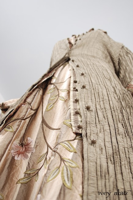 Phinneus Coat Dress in Lawn Washed Pintuck Silk; Phinneus Shirt in Lawn Washed Plaid Silk; Canterbury Frock in Original Plaster Embroidered Washed Silk, High Water Length. Spring Look 54 - Ivey Abitz Bespoke Clothing