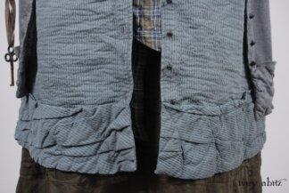 Mewland Jacket in Veranda Blue Lightweight Linen Knit; Mewland Vest in Veranda Blue Wainscot Weave; Blanchefleur Sash in Veranda Blue Wispy Plaid; Bertie Frock in Lawn Cotton Voile. Look 58 - Spring 2018 Ivey Abitz Bespoke