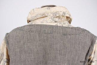 Look 7 - Spring 2018 Ivey Abitz Bespoke - Highlands Shirt in Hamlet Washed Silk; Clotaire Sash in Chimney Crinkled Striped Weave; Fairholme Skirt in Chimney Glen Plaid Linen.