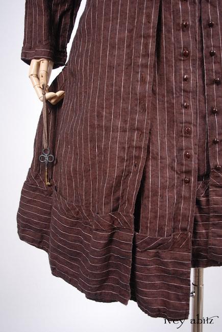 Spring 2018 Look 9 Ivey Abitz Bespoke Clothing - Porte Cochere Duster Coat in Brick Striped Linen; Porte Cochere Frock in Brick Striped Linen; Cilla Slip Frock in Brick Silky Knit, Flood Length.