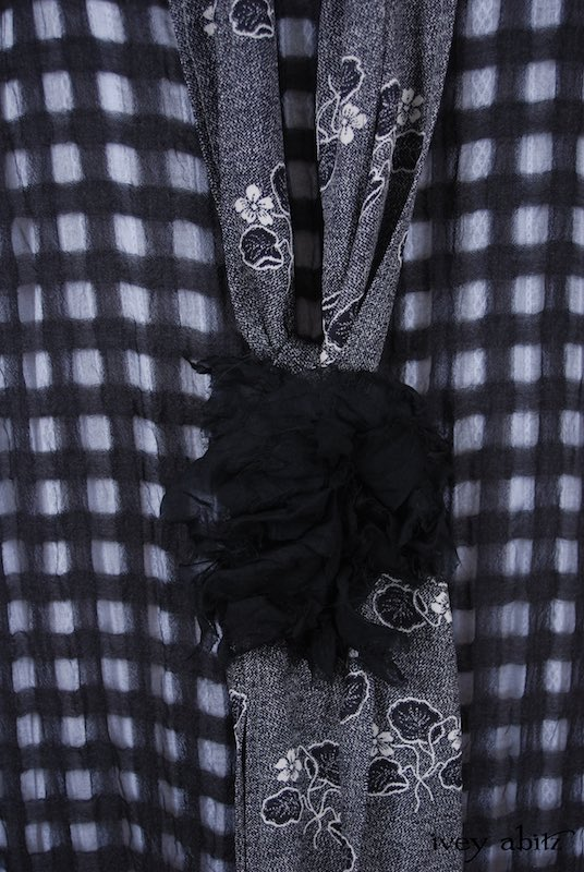 Midsummer Look 2 - Limited Edition Blanchefleur Frock in Black Checked Challis; Blanchefleur Frock in White Embroidered Striped Voile; Blanchefleur Sash in Black Edwardian Floral Silk; Bartholdi Brooch in Black Wispy Silk Voile; Elliot Jacket in Black White Summer Knit by Ivey Abitz