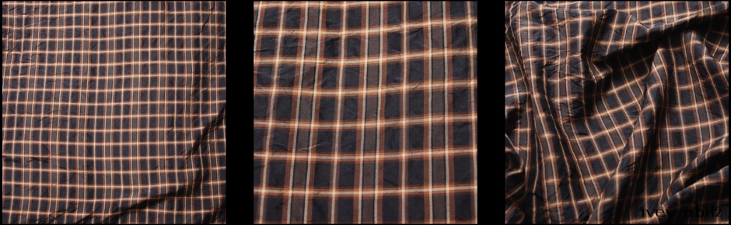Onyx Copper Plaid Silk Taffeta