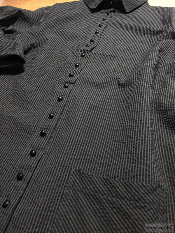 Phinneus Shirt in Moonlit Meadow Puckered Striped Cotton by Ivey Abitz