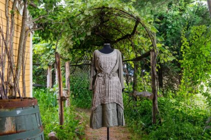 Chevallier Cardigan in Herb Garden Soft Ribbed Knit; River Frock in Natural Plaid Open Weave; Hudson Frock in Herb Garden Washed Linen. Ivey Abitz at Boscobel House and Gardens
