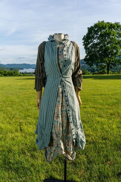 Scattergood Vest in Seaside Puckered Washed Stripe; Scattergood Frock in Seaside Floral Linen; Chevallier Cardigan in Herb Garden Soft Ribbed Knit. Ivey Abitz at Boscobel House and Gardens