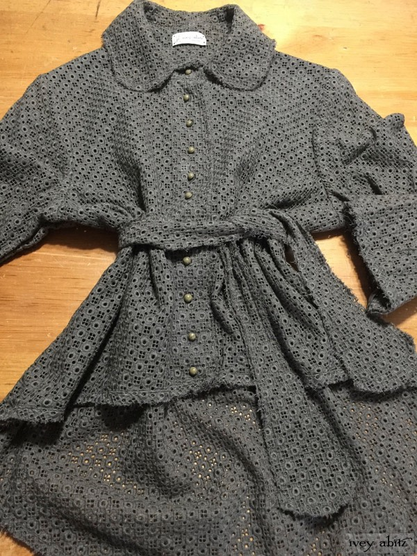Sollie shirt in flaxseed embroidered eyelet antique wooden composition buttons, circa early 1900's by Ivey Abitz