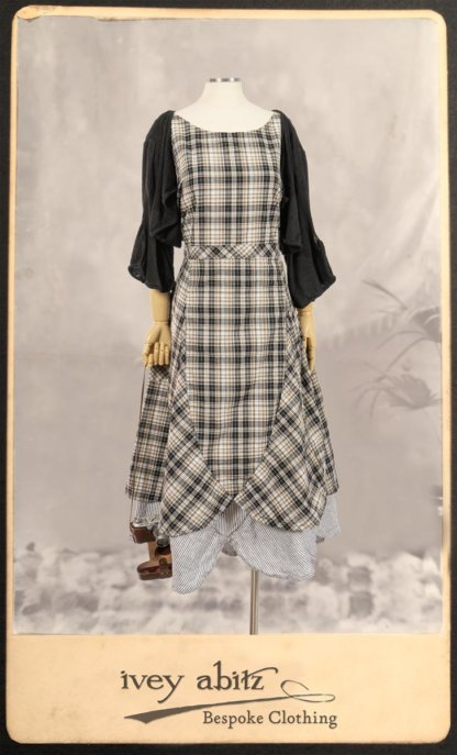 Addy Jacket in Signature Black Lightweight Linen Knit; Addy Frock in Black and White Picture Book Plaid in High Water Length; Addy Skirt in Black and White Petite Stripe Linen. By Ivey Abitz.