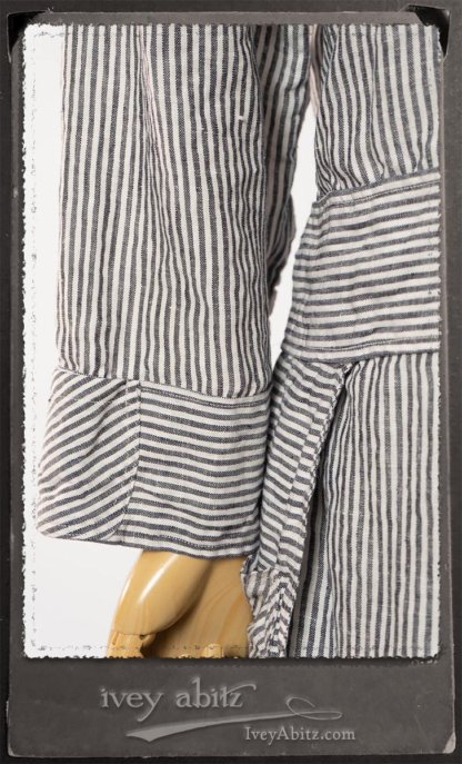 Campanella Shirt Jacket in Black and White Petite Stripe Linen; Campanella Frock in New Day Washed Stripe Linen. By Ivey Abitz.