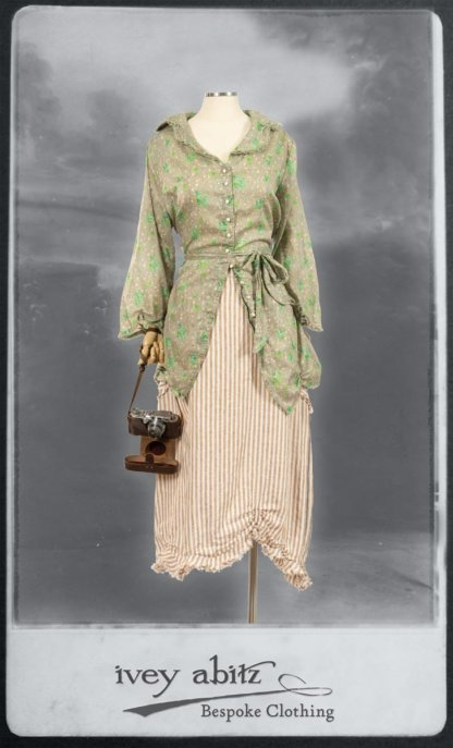 Celia Shirt in New Day Floral Cotton Voile; Au Sable Skirt in Camera Case Washed Stripe Linen. By Ivey Abitz.