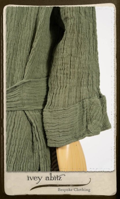 Campanella Duster Coat in New Day Washed Crinkled Linen; Campanella Frock in New Day Washed Stripe Linen. By Ivey Abitz.