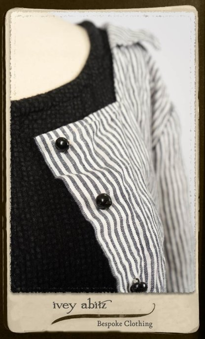 Campanella Shirt Jacket in Black and White Petite Stripe Linen; Bertie Frock in Black Puckered Check Weave; Cilla Slip Frock in Signature Black Lightweight Linen Knit; Floravinea Brooch in Rosy Washed Crinkled Linen. By Ivey Abitz.