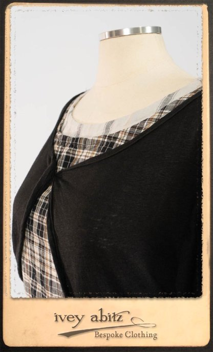 Addy Jacket in Signature Black Lightweight Linen Knit; Addy Frock in Black and White Picture Book Plaid in High Water Length; Fairholme Frock in Black and White Picture Book Stripe in High Water Length. By Ivey Abitz.