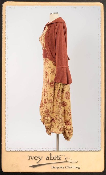 Crest Jacket in New Sun Softest Knit; Clotaire Sash in Rosy Washed Crinkled Linen; Scattergood Frock in Rosy Washed Floral Linen. By Ivey Abitz.