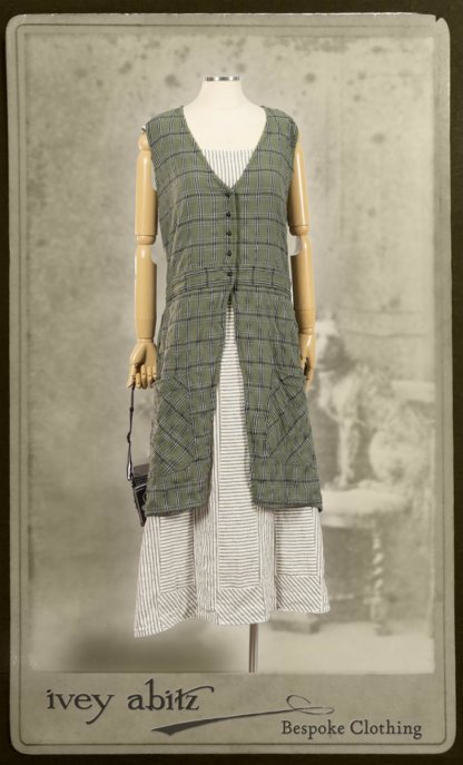Campanella Overylay in New Day Washed Plaid Gauze; Campanella Frock in New Day Washed Stripe Linen. By Ivey Abitz.