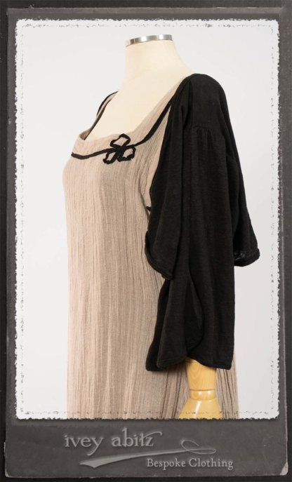 Monceau Frock in Picture Book Washed Crinkled Linen; Cilla Slip Frock in Signature Black Lightweight Linen Knit with Square Collar; Addy Jacket in Signature Black Lightweight Linen Knit. By Ivey Abitz.
