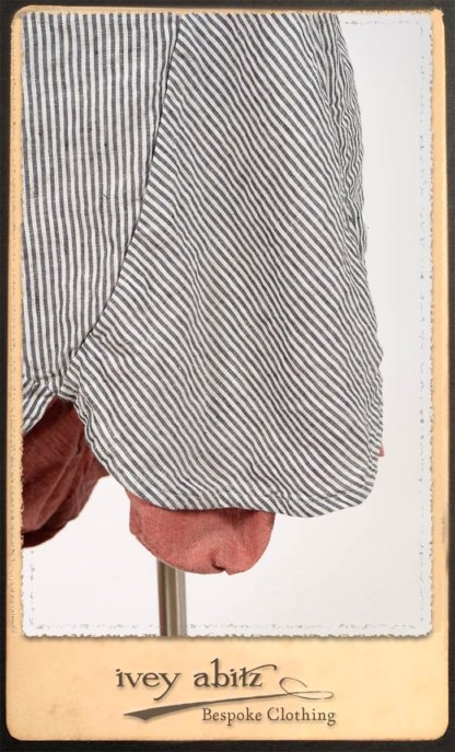 Scattergood Shirt Jacket in Black and White Petite Stripe Linen; Scattergood Frock in Rosy Washed Cotton; Addy Skirt in Black and White Petite Stripe Linen. By Ivey Abitz.