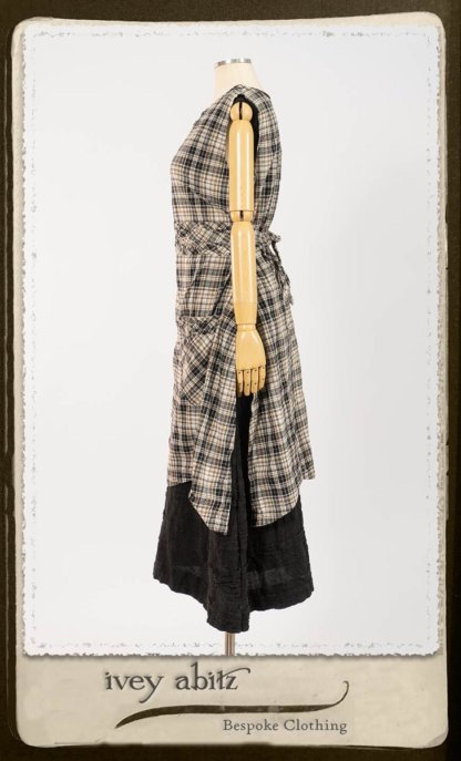 Bramley Frock in Black and White Picture Book Plaid; Bertie Frock in Black Puckered Check Weave. By Ivey Abitz.