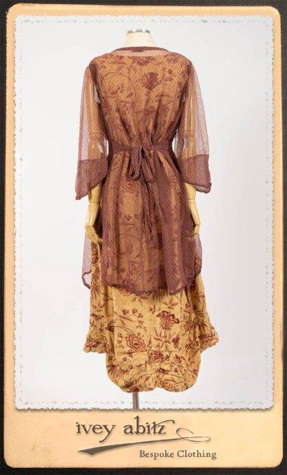 Lorrilard Dress in Rosy Argyle Netting; Scattergood Frock in Rosy Floral Linen. By Ivey Abitz.