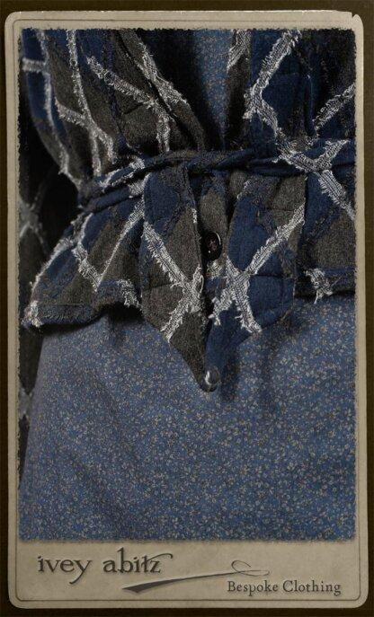 Chevallier Cardigan in Fresh Water Rustic Argyle Knit; Vanetten Frock in Fresh Water Petite Fleur Cotton; Clotaire Sash in Fresh Water Argyle Netting. By Ivey Abitz.