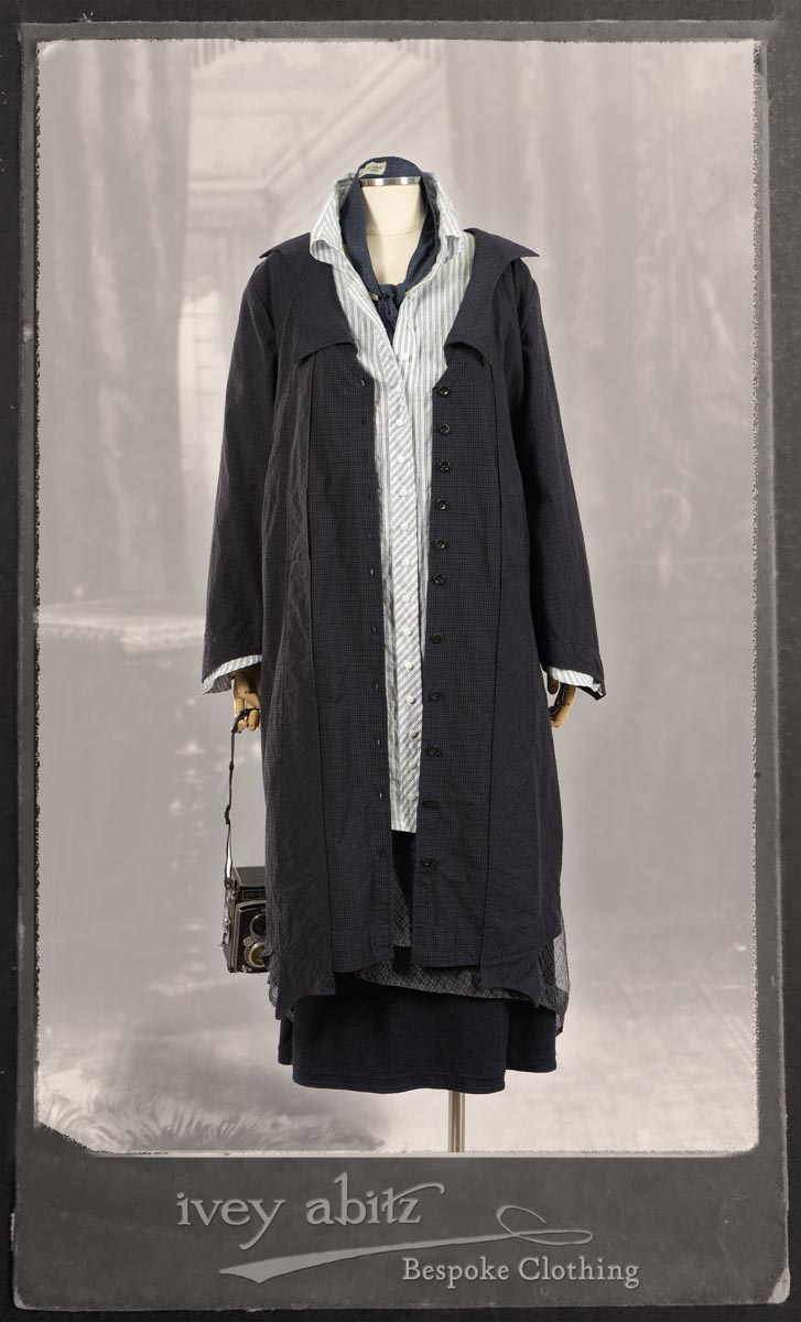 Vanetten Duster Coat in Fresh Water Petite Check Cotton; Highlands Shirt in Fresh Water Puckered Stripe Cotton; Cloitaire Sash in Fresh Water Argyle Netting; Cilla Slip Frock in Fresh Water Melange Knit; Highlands Skirt in Fresh Water Argyle Netting. By Ivey Abitz.