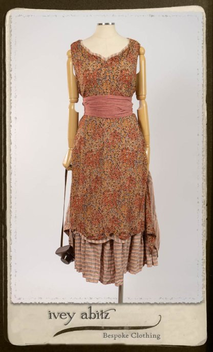 Crest Frock in New Sun Floral Silk Chiffon in High Water Length; Porte Cochere Sash in Rosy Washed Cotton; Heraldry Frock in Rosy Washed Stripe Linen in High Water Length. By Ivey Abitz.