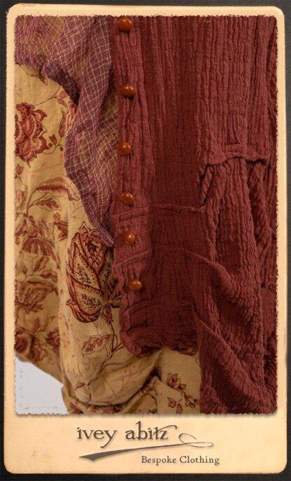 Scattergood Duster Coat in Rosy Washed Crinkled Linen; Lorrilard Dress in Rosy Argyle Netting; Scattergood Frock in Rosy Washed Floral Linen. By Ivey Abitz.