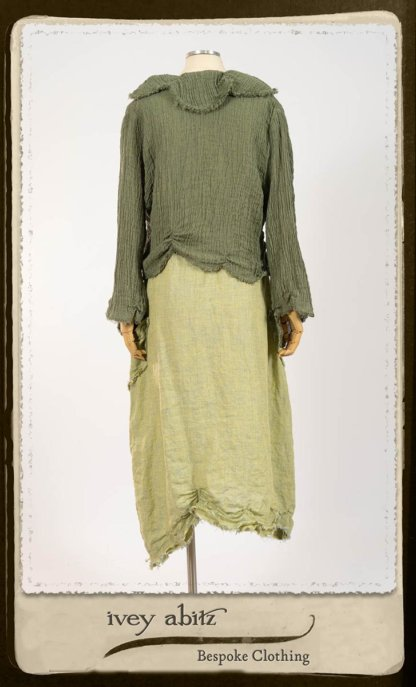 Au Sable Jacket in New Day Washed Crinkled Linen; Au Sable Frock in New Day Washed Linen in High Water Length. By Ivey Abitz.