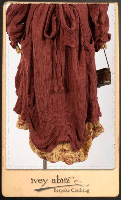 Scattergood Duster Coat in Rosy Washed Crinkled Linen; Scattergood Frock in Rosey Washed Floral Linen. By Ivey Abitz.