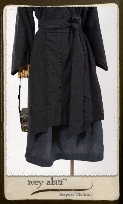 Vanetten Duster Coat in Fresh Water Petite Check Cotton; Vanetten Frock in Petite Fleur Cotton; Cilla Slip Frock in Signature Black Lightweight Linen Knit; Clotaire Sash in Fresh Water Argyle Netting. By Ivey Abitz.