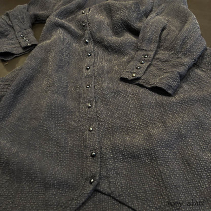 Truitt Shirt Jacket in Black Puckered Check Weave, adorned with antique buttons, circa early 1900's.