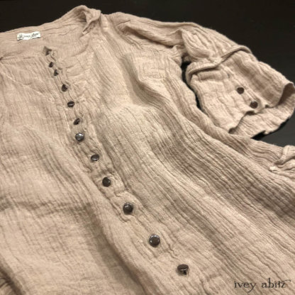 Harrison Shirt Jacket in Picture Book Washed Crinkled Linen. Adorned with vintage metal buttons, Italian, mid 1900's.