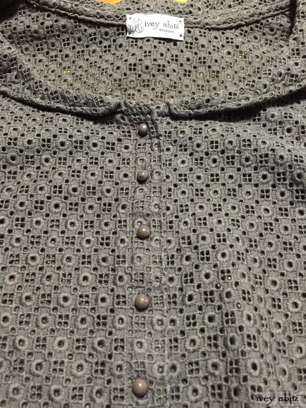 Truitt Duster Coat in Flaxseed Embroidered Eyelet with antique buttons, early 1900's. by Ivey Abitz