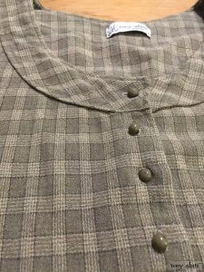 Truitt Frock in flaxseed plaid weave antique wooden composition buttons circa early 1900's by Ivey Abitz