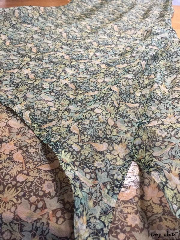 Wildefield frock in Bird and vine silk organza by Ivey Abitz
