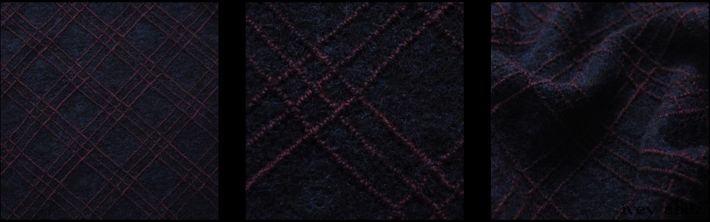 Windowpane Embroidered Boiled Wool