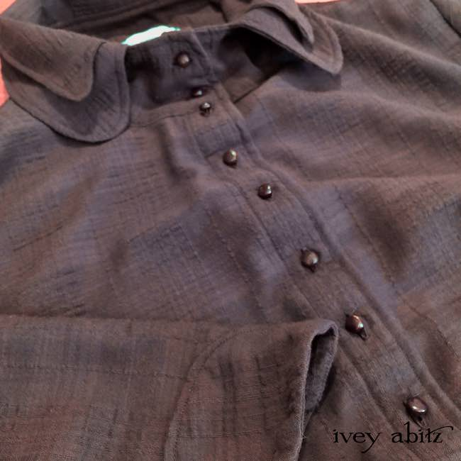 Inglenook Shirt Jacket in Brick Wispy Plaid Voile with antique wooden buttons by Ivey Abitz