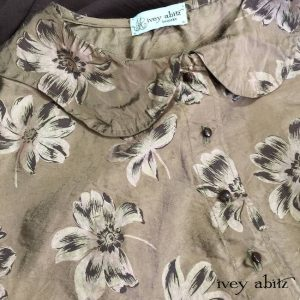Grasmere Vest in Brownstone Banister Floral Washed Silk with antique wooden buttons by Ivey Abitz