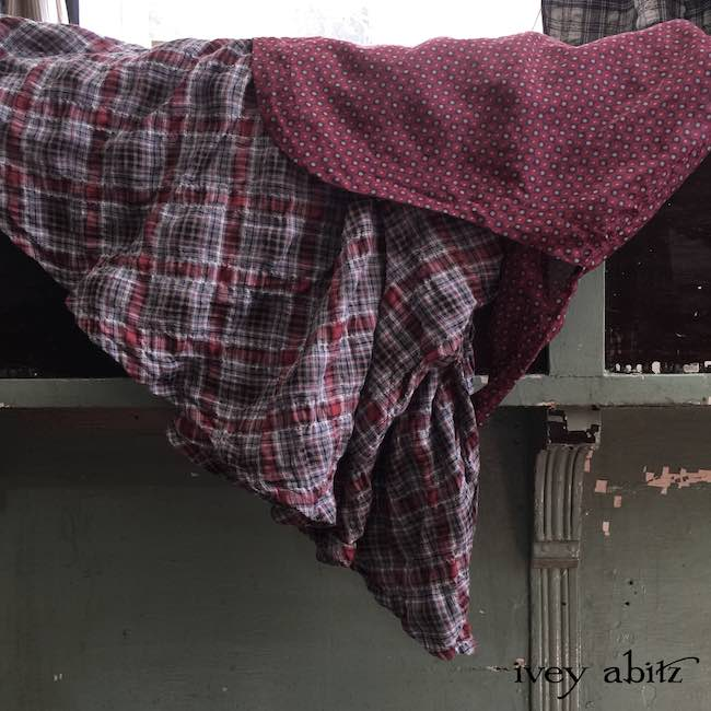 Crest Frock in Red Door Stained Glass Voile over the Heraldry Frock in Red Door Wispy Plaid Voile by Ivey Abitz