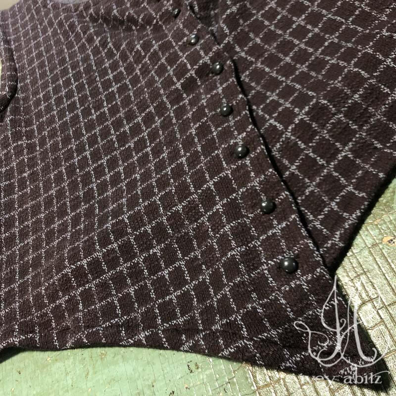 Elliot Vest in Garden Grid Knit, adorned with antique wooden composition buttons, circa early 1900's.