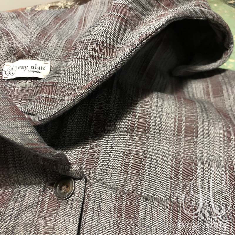 Eleanora Jacket in Grey Garden Stretch Plaid, adorned with antique metal buttons, original patina, circa early 1900's.