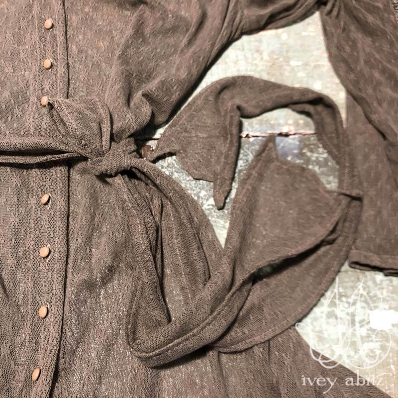 Fairholme Jacket in Flora Netted Lace, adorned with antique wooden composition buttons, circa early 1900's.