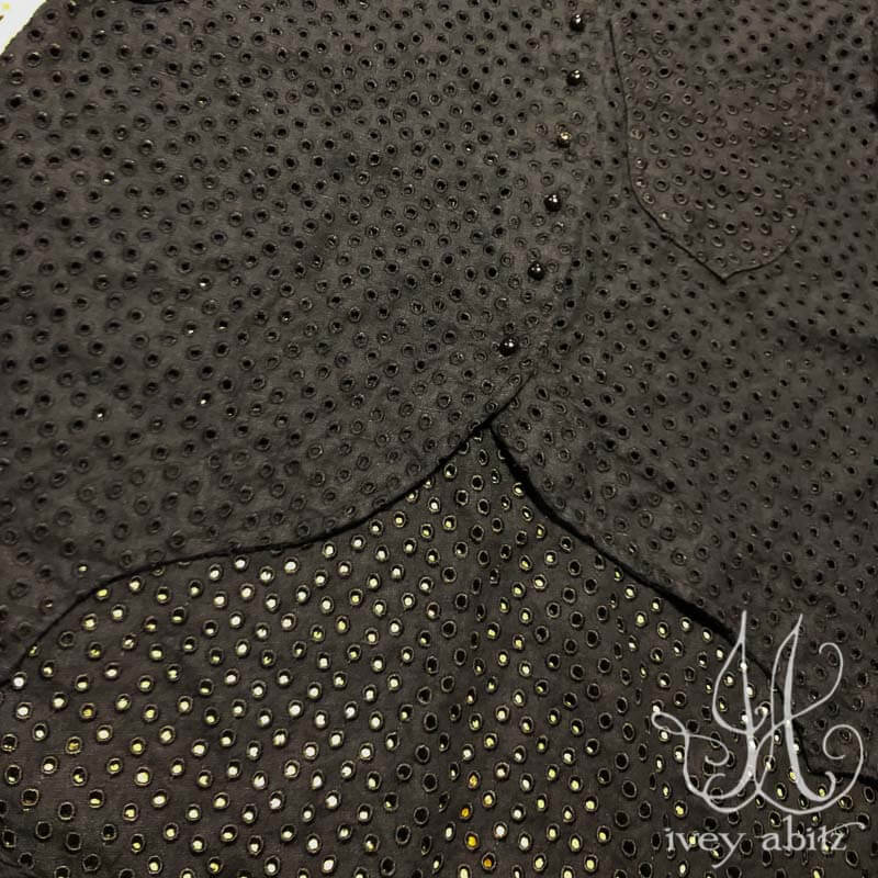 Heraldry Duster Coat in Black Embroidered Circle Linen, adorned with antique buttons, circa early 1900's.
