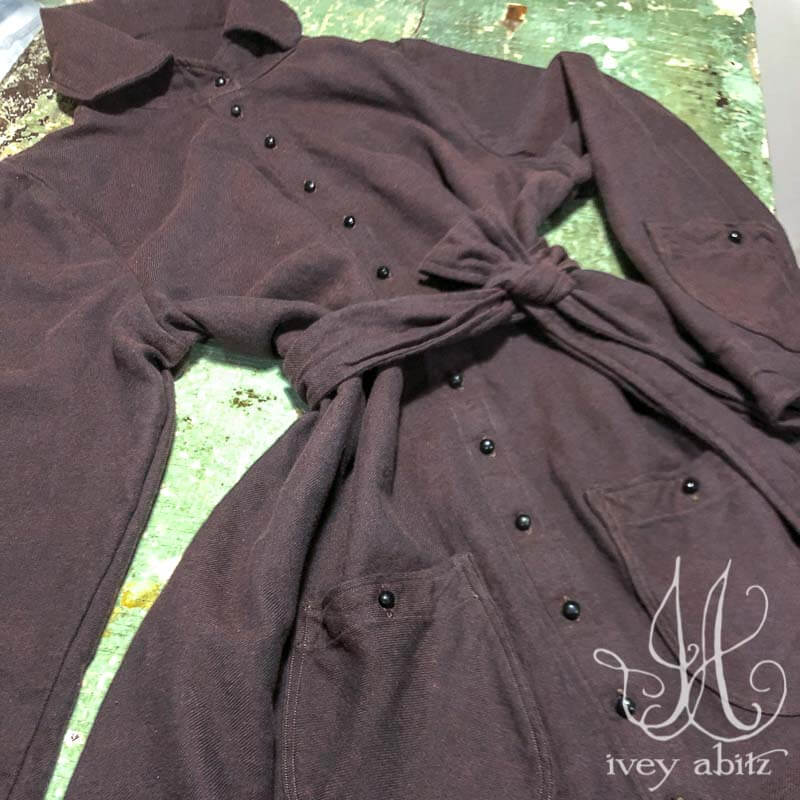 Amorette Shirt Jacket in Iced Tea Soft Twill, adorned with antique buttons, circa early 1900's.