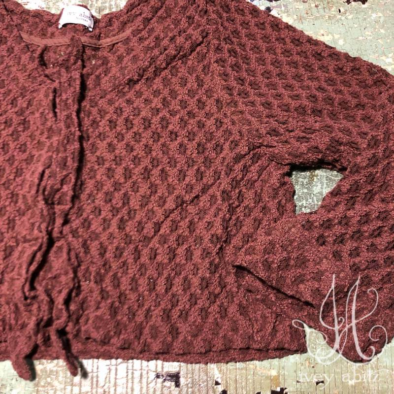 Chevallier Cardigan in  Iced Tea Stretch Lace
