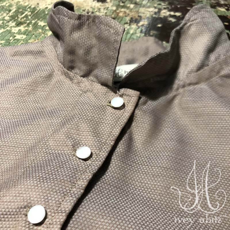 Chevallier Shirt in Taupe Rose Jacquard Voile, adorned with antique glass buttons, circa early 1900's.