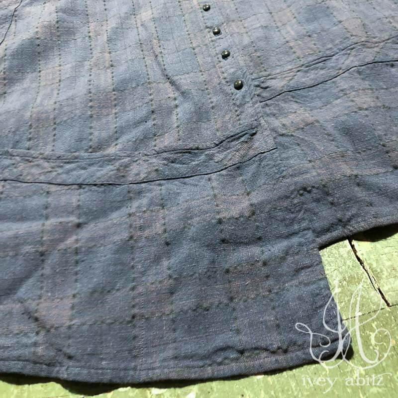 Porte Cochere Frock  in Blue Skies Washed Plaid Linen, adorned with antique buttons, circa early 1900's.