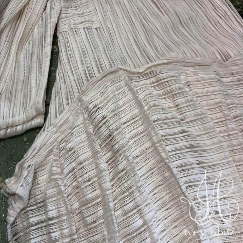 Fairholme Frock in Gardenia Variegated Stripe Weave.