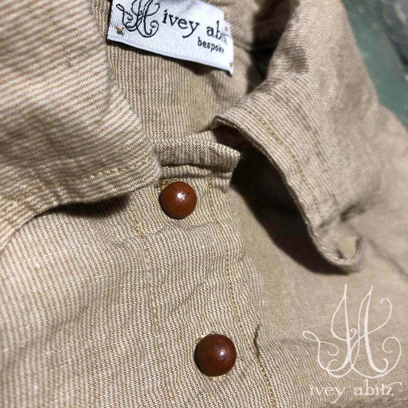 Chittister Shirt Jacket in Sun and Sand Washed Stripe, adorned with antique buttons, circa early 1900's.