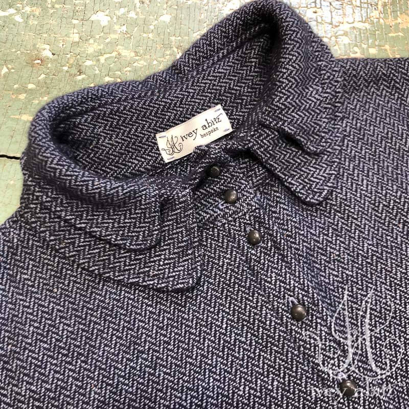 Inglenook Vest in Fresh Water Silk Herringbone, adorned with antique buttons, circa early 1900's.