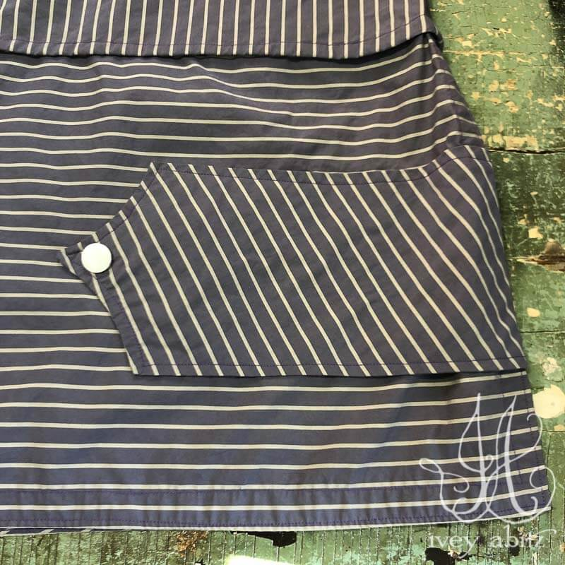 Baedeker Skirt in Lavender Bly Sky Stripe Poplin, adorned with antique mother of pearl buttons, circa early 1900's.